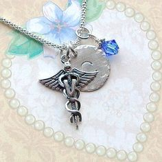 Veterinarian Caduceus Hand Stamped Sterling Silver Initial Charm Necklace