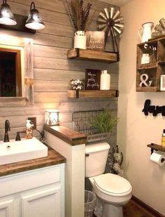 07 Beautiful Farmhouse Bathroom Decorating Ideas #BathroomDesigns