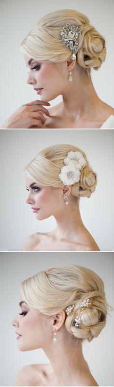 side bun with #jewels #weddinghair
