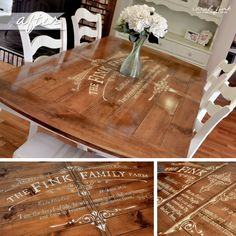 Gathering for Dinner Around a Custom-Stenciled Dining Room Table
