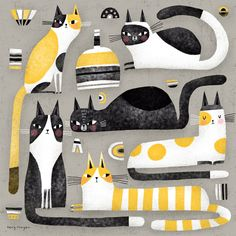 Cat Art Print, Yellow Cat, Art Original, Animal Design, Doodle Art, Oeuvre D'art, Kansas, Cute Art, Collages