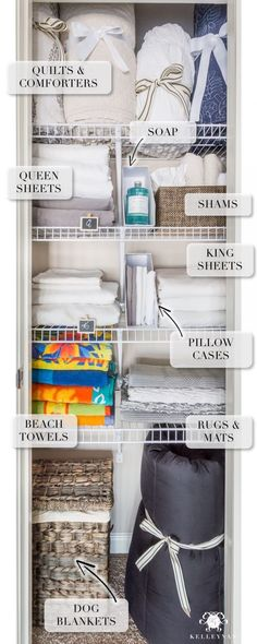 A Small Organized Linen Closet (And Ideas to Store Bulky Bedding) . A Small Organized Linen Closet (And Ideas to Store Bulky Bedding) Linen Closet Organization, Bathroom Organization, Storage Organization, Storage Ideas, Organize A Linen Closet, Bathroom Storage, Organizing Ideas, Organize Bathroom Closet, Organized Bathroom