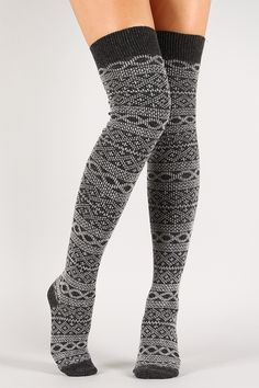 Pattern Print Knit Thigh High Socks