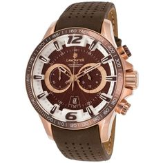 Lancaster Italy Men's Hurricane Chronograph Brown Genuine Leather... ($150) ❤ liked on Polyvore featuring men's fashion, men's jewelry, men's watches, brown, watches, mens watches jewelry, mens watches, mens brown leather watches, mens leather watches and mens chronograph watches