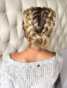 55 trendy hairstyles for parties - Sévane - - 55 coiffures branchées pour les fêtes The double braid bun - French Braid Hairstyles, Elegant Hairstyles, Easy Hairstyles, Braided Hairstyles For Long Hair, European Hairstyles, American Hairstyles, Updo Hairstyle, French Braid To Bun, Types Of Hairstyles