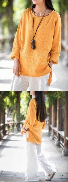 Women#8217;s blouses for sale gracila vintage pure color o-neck long sleeve loose women blouse #bhs #womens #blouses #womens #elegant #blouses #womens #tops #and #blouses #cheap #womens #blouses #gray