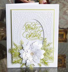 Winter Wishes (D451), Lavish Poinsettia (D452), Christmas Florals Pine (D439) www.tatteredlace.co.uk