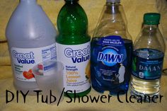 This is THE BEST shower cleaner!         Here is the simple recipe-----Equal parts of the following: Dawn Dishwashing Liquid, Lemon Juice, White Vinegar and HOT water.            I use about 3/4 cup of each and it fits easily into my recycled spray bottle (30 fl. oz.)       Mix well to incorporate and start spraying!  I let it sit for about 5-10 minutes then use a no-scratch scrubber.  It does a great job on soap scum, even on the clear glass door!
