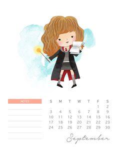 Calendario 2017 de Harry Potter para Imprimir Gratis.