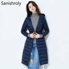 ab8d236a1ce8 Sanishroly 2018 Women White Duck Down Jacket Tops Slim Ultra Light Down  Coat Parka Female Long