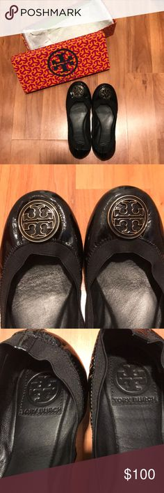 Tory Burch Caroline flats, size 8, box included Gorgeous black, patent leather ballet flats  Authentic Tory Burch  Size 8  Lightly worn, no signs of wear on body, just on soles, as seen in images. Box included! Tory Burch Shoes Flats & Loafers