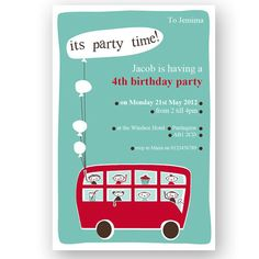 Retro London Bus Printable DIY Party Invitation - Editable