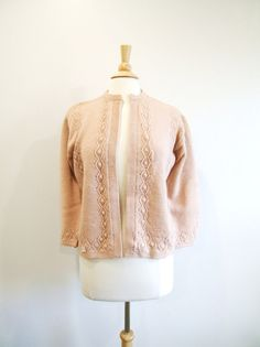 1950s Pointelle Cardigan Vintage 50s Sweater by RedsThreadsVintage, $29.00