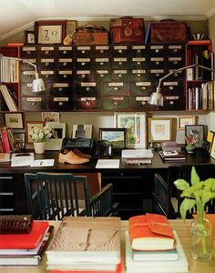 This is a true love for me. Desks, books, journals, cubbyholes: A perfect office, retreat, hiding place... There are even 2 chairs if you ever wanted to share. A ton of space to spread everything out on. Heaven on earth.  ~kelly