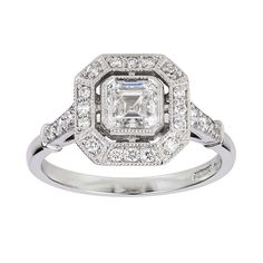 Art Deco Asscher-cut diamond engagement ring