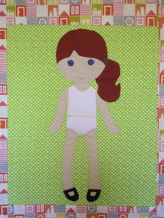 Paper Doll Blanket- made with soft Velcro for undergarments so clothes will stick easily