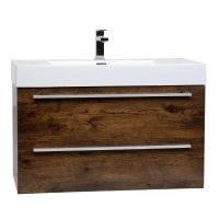 "35.5"" Wall-Mount Contemporary Bathroom Vanity Rosewpd TN-M900-RW"