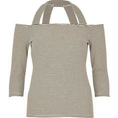 River Island Black stripe strappy bardot top ($32) ❤ liked on Polyvore featuring tops, bardot / cold shoulder tops, black, women, 3/4 length sleeve tops, river island, cold shoulder tops, ribbed top and open shoulder top
