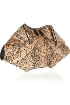 Alexander McQueen, The De Manta printed silk-satin clutch (camel/ tan, black, insect pattern)