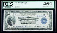 1918, $1 Federal Reserve Bank Note. PCGS Very Choice New 64PPQ Broad margins and outstanding originality enhance the beauty of this near-Gem New York example. Estimated Value $350 - 450. #Banknotes #USFederal #MADonC