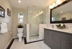 Traditional Master Bathroom with Custom Shower Doors (Frameless), Ms International Alpine White Marble, Undermount sink