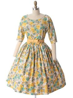 A sweetly gorgeous 1960s Watercolor Floral Garden Party Dress from Blue Velvet Vintage. #vintage #1950s #1960s #dresses #florals