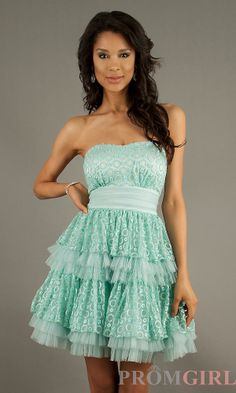 Short Ruffled Mint Green Prom Dress
