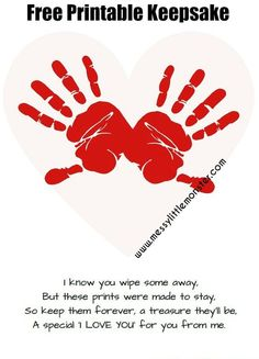 FREE PRINTABLE Handprint keepsake poem. Simple Valentines day craft ...