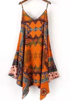 Orange Spaghetti Strap Tribal Print Dress
