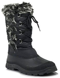 ICE Women Winter Cold Weather Rubber Toe Snow boots Lace up Zipper Fleece Lining 9 BM US Black ** Read more reviews of the product by visiting the link on the image. (This is an affiliate link)