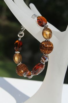 Beaded Bracelet  red amber and silver by kimjustice on Etsy, $20.00