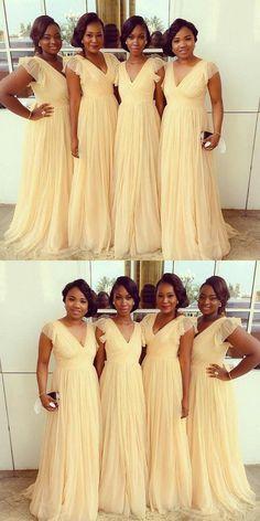 fancy champagne long party dresses, simple bridesmaid dresses, cheap deep v-neck bridesmaid dresses
