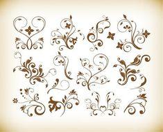 Free Vector Set of Decorative Floral Vintage Vector Design Elements #freebies