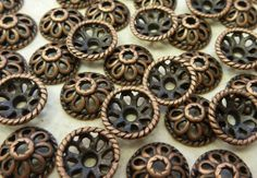 10mm (2mm hole) Antique Copper Base Metal Spacer Bead Caps - Qty 20 (F66)