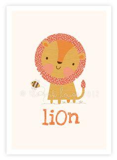 Little Lion & his Bumble Bee buddy - A4 art print illustration poster kids children's room wall nursery jungle safari animal yellow. $15.00, via Etsy.