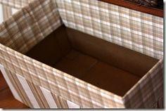 DIY storage bins from cardboard boxes Food Storage Shelves, Decorative Storage Bins, Fabric Storage Bins, Fabric Boxes, Storage Boxes, Storage Spaces, Kitchen Storage, Fabric Basket, Arts And Crafts Storage