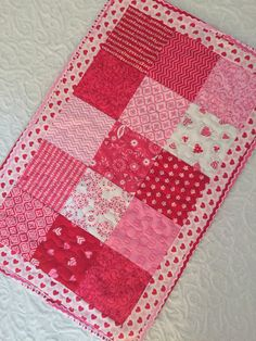 Valentine Table Topper Quilt  Red  Pink  White by KeriQuilts