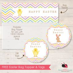 Easter bag toppers and tags, free printable
