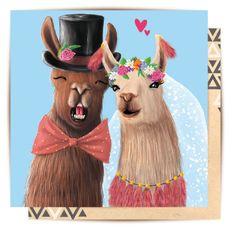 Llama Wedding Mini Card $3.50  #llama #greetingcard #minicard #wedding #love #lalaland