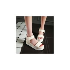 Velcro Wedge Sandals ($41) ❤ liked on Polyvore