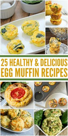 25 Healthy & Delicious Egg Muffin Recipes - This list of recipes will satisfy your hunger and don't require much effort to make! Try these for breakfast or dinner--it's a great meal for any time! Muffin Tin Recipes, Egg Recipes, Salad Recipes, Frittata Recipes, Egg Dish, Healthy Egg Muffins, Healthy Breakfast Recipes, Brunch Recipes, Healthy Recipes