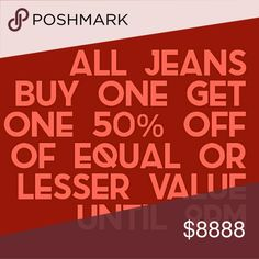 Denim sale Buy one pair of jeans at Buy It Now price get the second pair 50% off of equal or lesser value. 7 for all Mankind Jeans