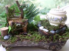 Woodland Fairy House Setting with Chair and by BetweenTheWeeds, $44.00