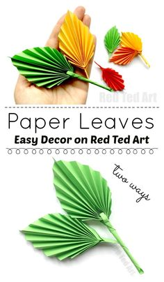 This adorable paper leaf DIY is based on an origami leaf pattern, but is EASIER to make. They look fabulous and these paper leaves make great Thanksgiving Decor or Autumn Decor. So simple. So pretty and above all SO EASY! Paper Leaves, Paper Flowers, Origami Flamingo, Paper Crafts For Kids, Diy And Crafts, Leaf Crafts, Origami Leaves, Martha Stewart Crafts, Festa Party