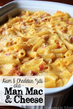 Ham & Cheddar Ziti aka {Man Mac & Cheese} - this takes mac & cheese to a whole new level. Ziti noodles smothered in a homemade cheese sauce and chopped, smoked ham - SO good! Ham Recipes, Pasta Recipes, Cooking Recipes, Recipies, Recipes With Deli Ham, Italian Recipes, Dessert Recipes, What's Cooking, Casserole Recipes