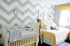 non-gender specific nursery done in elegant yellow + gray color scheme with the perfect amount of funk, chevron striped walls.and a bed for mommy to nap on while baby is sleeping! So perfect! Boy Nursery Colors, Yellow Nursery, Nursery Design, Bedroom Colors, Wall Design, Striped Nursery, Design Design, Giraffe Colors, House Design