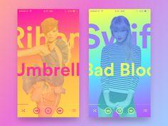 Color Gradient Mobile Music Player UI | Mobile UI Design