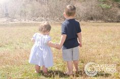 boy, girl, brother, sister, back, holding hands, field, grass