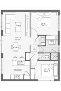 Augusta Granny Flat Floorplan ~ Great pin! For Oahu architectural design visit http://ownerbuiltdesign.com