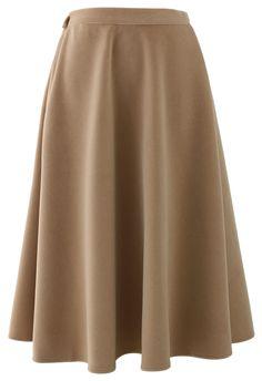 Wool-blend Midi Skirt in Camel